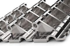 Сияющие части металла сделанные из стали на белой предпосылке иллюстрация 3d стоковые изображения