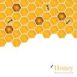 Сияющие янтарные гребень меда и предпосылка пчел конструируют Natura вектора бесплатная иллюстрация
