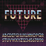 Сияющий алфавит хрома в ретро стиле Futurism 80s Стоковое Изображение RF