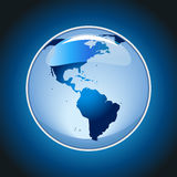 Сияющий глобус на голубом векторе предпосылки Стоковые Изображения