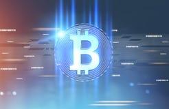 Сияющий знак bitcoin, предпосылка голубого красного цвета Стоковое Изображение