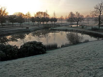 Сияющий и яркий восход солнца на ландшафте зимы Стоковые Фото