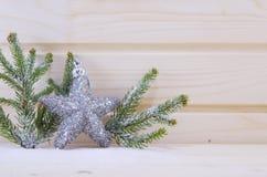 Сияющий орнамент звезды с ветвями ели Стоковое Фото