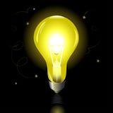 Сияющий свет на черной предпосылке Стоковое фото RF