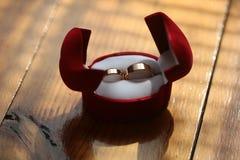 2 сияющих золотых кольца Стоковые Изображения