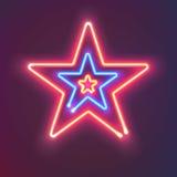 3 сияющих неоновых звезды Загадочная яркая доска знака для вашего дизайна также вектор иллюстрации притяжки corel Стоковые Изображения RF