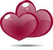 2 сияющих сердца красного цвета значка стоковое изображение