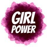 Сила девушки Феминист лозунг на цифровой предпосылке акварели Стоковые Фото