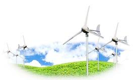 Сила Eco, ветротурбины производя электричество Стоковое Фото