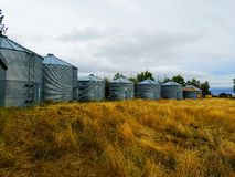 Силосохранилища зерна в северной Монтане Стоковые Изображения RF