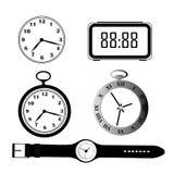 5 силуэтов часов Стоковая Фотография RF