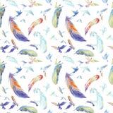 Силуэты акварели летящих птиц картина безшовная Стоковое Изображение RF