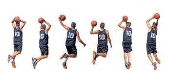 Силуэты баскетболиста Стоковая Фотография RF