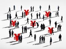 Силуэты бизнесменов валюты японца Стоковое фото RF
