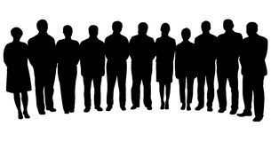 Силуэты бизнесменов, стоя в линии Стоковые Изображения