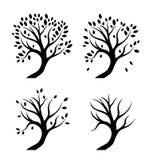 Силуэты вектора деревьев в сезонах Стоковые Фотографии RF