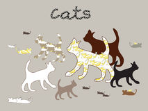 Силуэты вектора котов и мыши Стоковая Фотография RF