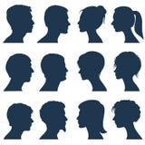 Силуэты вектора лобового профиля человека и женщины Стоковое фото RF