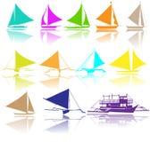 Силуэты вектора яхт Стоковые Изображения