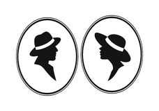 Силуэты голов дамы и Gentelmen Стоковое Изображение
