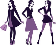 Силуэты девушек моды Стоковая Фотография