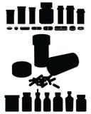 Силуэты лекарства бутылки-Perscription пилюльки Стоковое Изображение RF