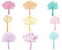 Силуэты дерева цвета вектора Бесплатная Иллюстрация