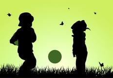 Силуэты детей Стоковые Изображения