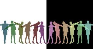 Силуэты женщины закручивая Половина в темных цветах с задней частью белизны и другая половина в wi светлых цветов Стоковые Изображения