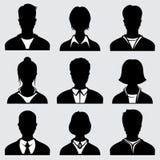 Силуэты женщины и человека головные, анонимные значки вектора персоны Стоковые Фото