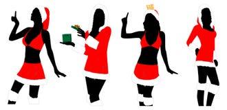 Силуэты женщин Нового Года Стоковое фото RF