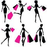 Силуэты женщин с хозяйственными сумками иллюстрация штока