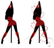 Силуэты женщин танца поляка бесплатная иллюстрация
