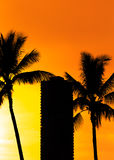 Силуэты захода солнца пляжа Гаваи Стоковое Изображение RF