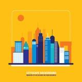Силуэты здания города предпосылки городского пейзажа Иллюстрация штока