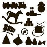 Силуэты игрушек детей Стоковое фото RF