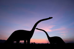 Силуэты динозавров Стоковые Фотографии RF