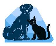 Силуэты кота и собаки сидя Стоковое Изображение