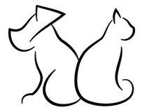 Силуэты кота и собаки упрощенные контуром черные Стоковое Изображение