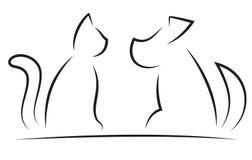 Силуэты кота и собаки упрощенные контуром Стоковая Фотография