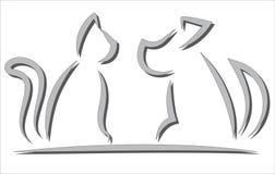 Силуэты кота и собаки упрощенные контуром Стоковое фото RF