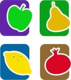силуэты красного цвета иконы плодоовощ установленные Стоковое Изображение RF