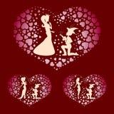 Силуэты мальчика и принцессы с красными сердцами, комплекта Стоковые Изображения RF
