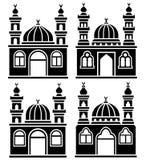 Силуэты мечетей Стоковое Изображение