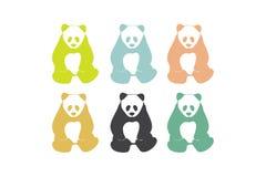 Силуэты медведя панды Стоковое Изображение RF