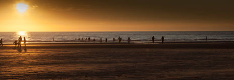 силуэты на пляже Стоковые Фотографии RF