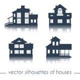 Силуэты дома вектора на белой предпосылке Стоковые Фотографии RF
