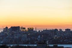 Силуэты домов и архитектуры современного городского Воронежа, городского пейзажа Стоковые Фото