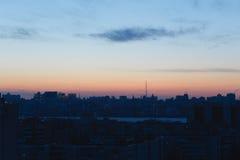 Силуэты домов и архитектуры современного городского Воронежа, aga городского пейзажа Стоковые Фото