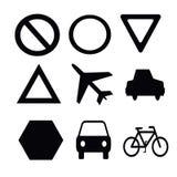 Силуэты дорожных знаков на белой предпосылке Стоковая Фотография RF